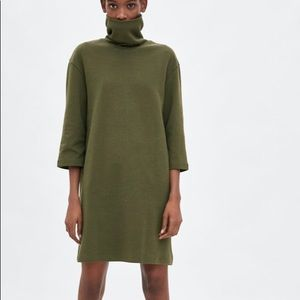 Zara olive green shift dress